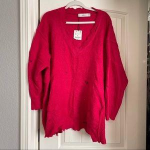 Zara pink oversized distressed sweater